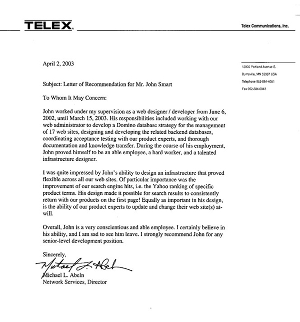 Sample Of Personal Reference Letter 9 Former Employee Recommendation .